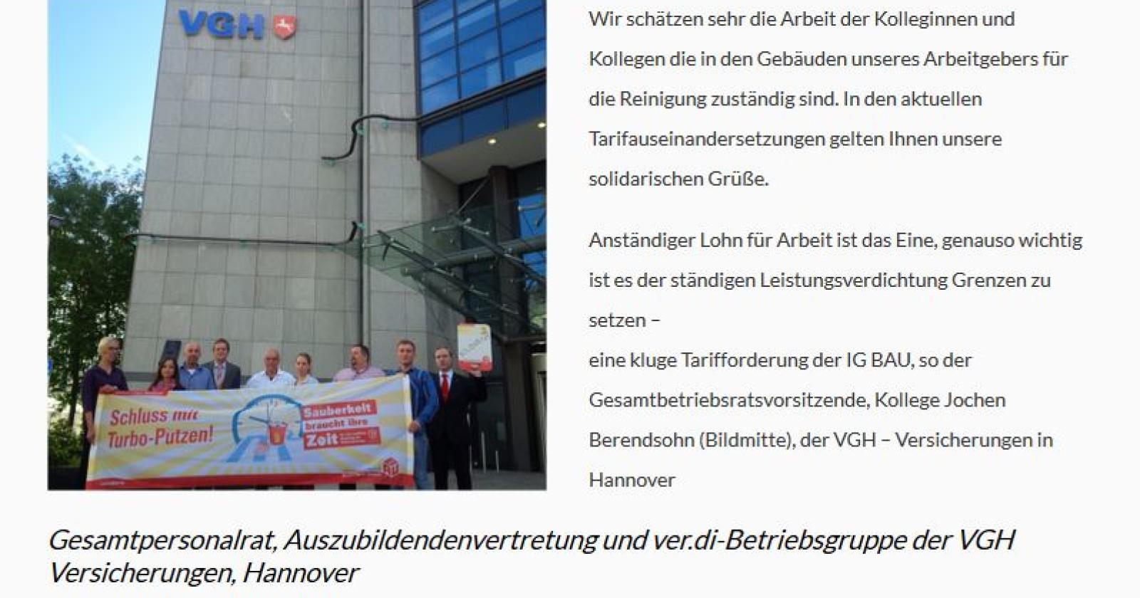 Kolleginnen & Kollegen der VGH Versicherungen in Hannover erklären sich solidarisch