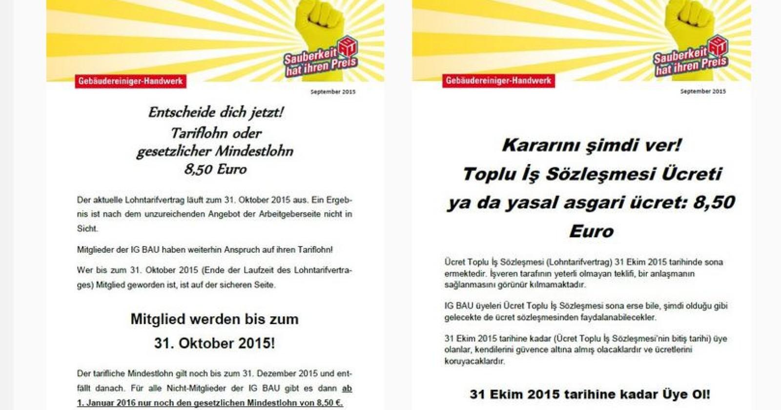 Weniger Lohn für Nicht-Mitglieder ab November? Flugblatt auf deutsch & türkisch