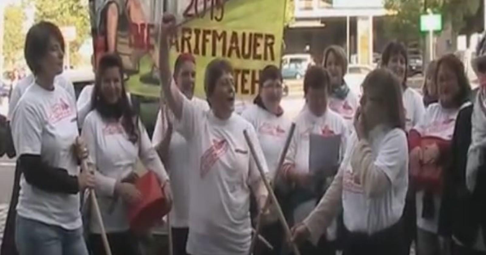 Video: Kolleginnen der Region SATS machen am Flughafen Leipzig/Halle aufmerksam auf Probleme in der Gebäudereinigung