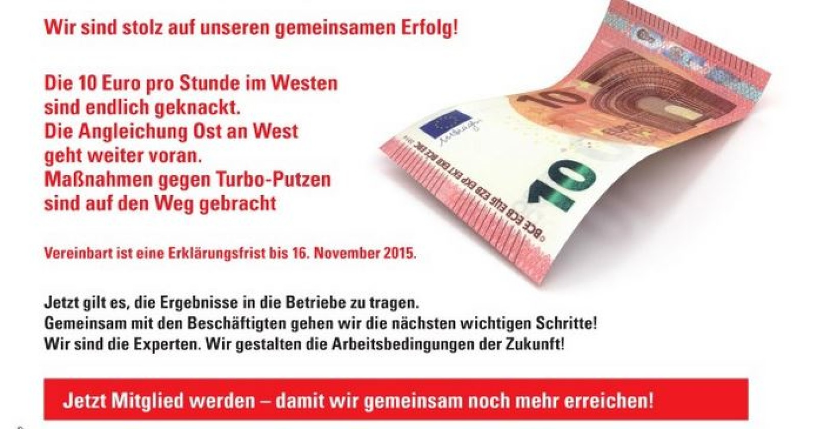Flugblatt zum Tarifergebnis. So steigen die Löhne - alle Lohngruppen im Überblick (Ost- und West)