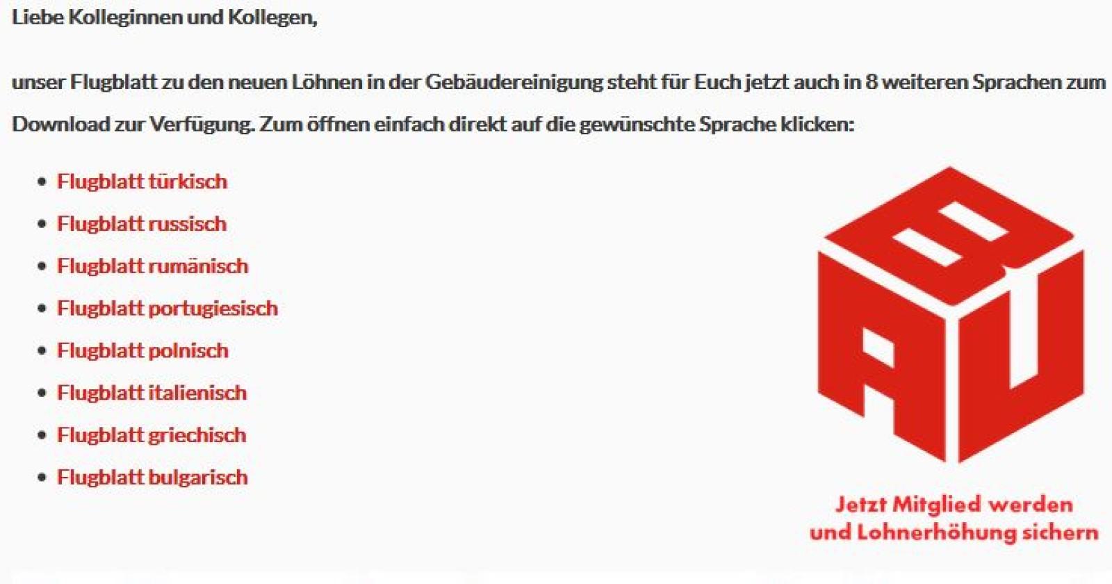 """Flyer """"Lohnerhöhung 2016"""" in 8 Sprachen"""