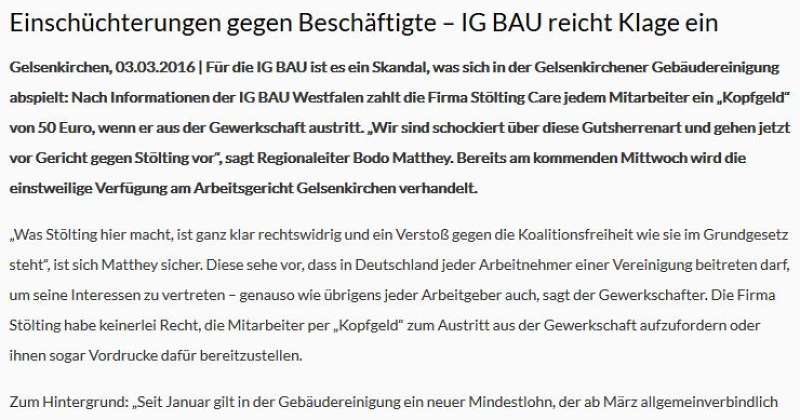 """Gelsenkirchener Reinigungsfirma Stölting zahlt """"Kopfgeld"""" für Gewerkschaftsaustritt"""