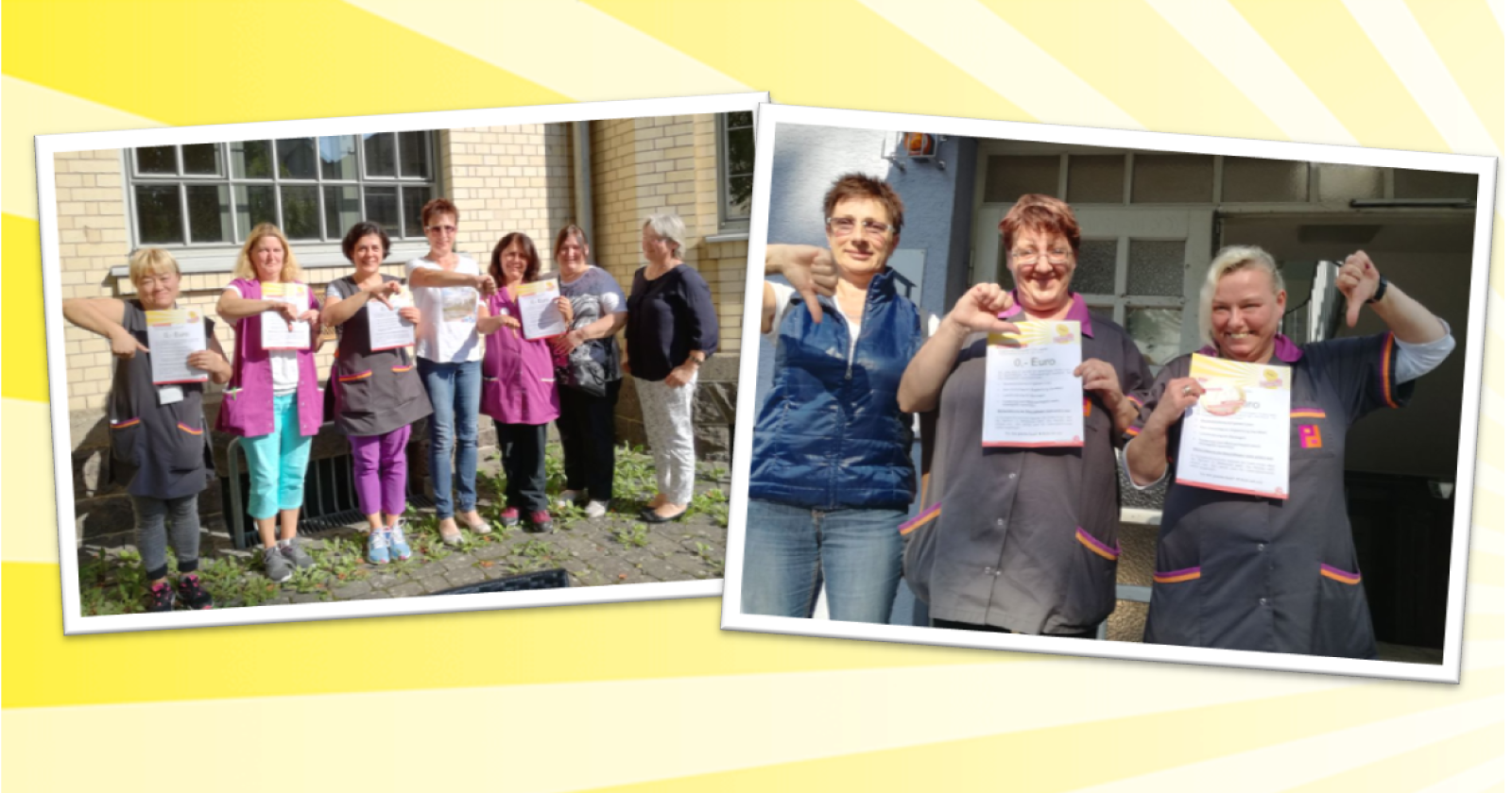 """Kolleginnen von Piepenbrock in Gießen sagen, """"Daumen runter!"""" zur Blockadehaltung der Arbeitgeber"""