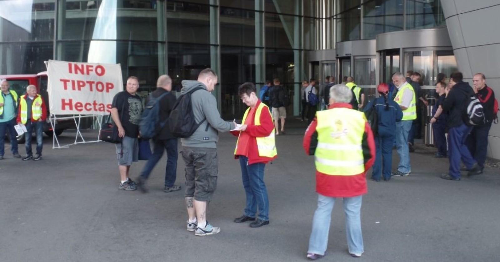 Kolleginnen und Kollegen bei BMW solidarisch mit Gebäudereinigern