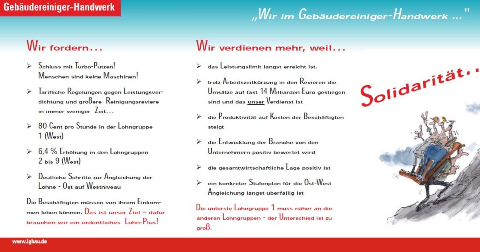 Tarif-Flugblatt: Wir im Gebäudereiniger-Handwerk