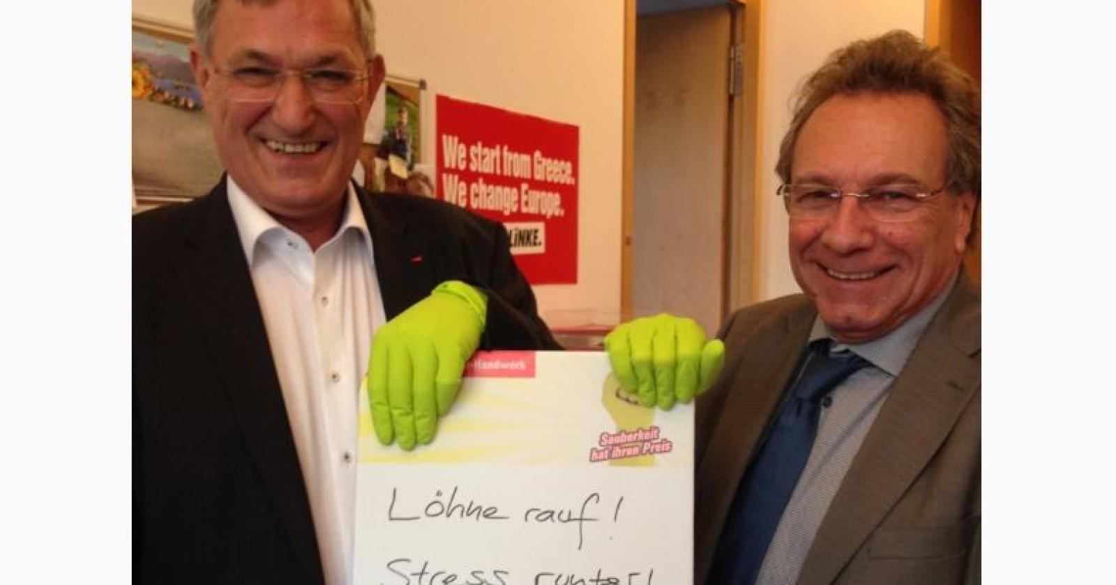 """Bernd Riexinger & Klaus Ernst (die Linke): """"Löhne rauf! Stress runter!"""""""