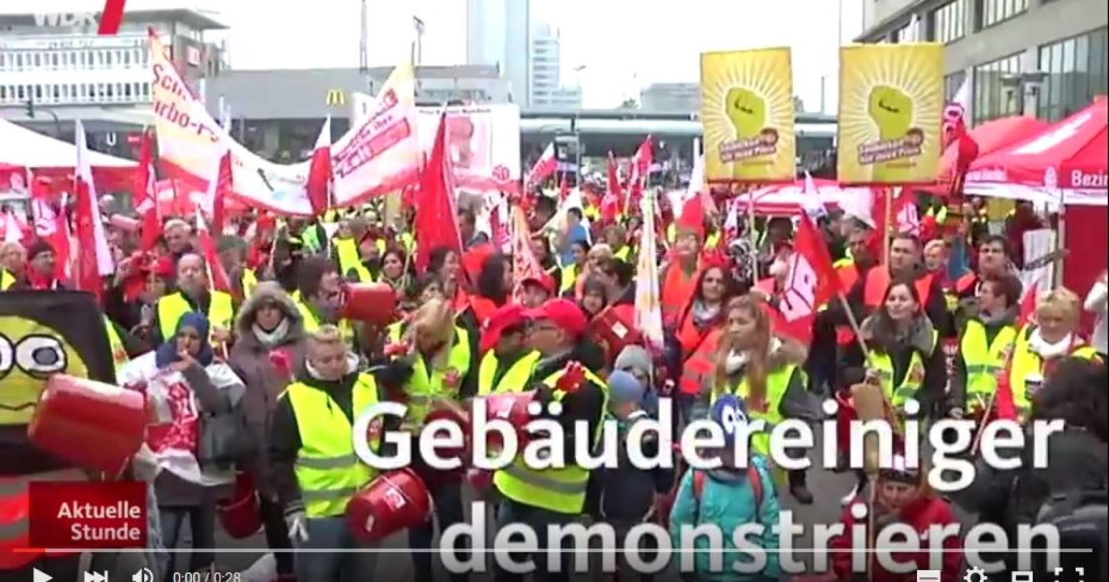 WDR: Gebäudereiniger demonstrieren in Essen