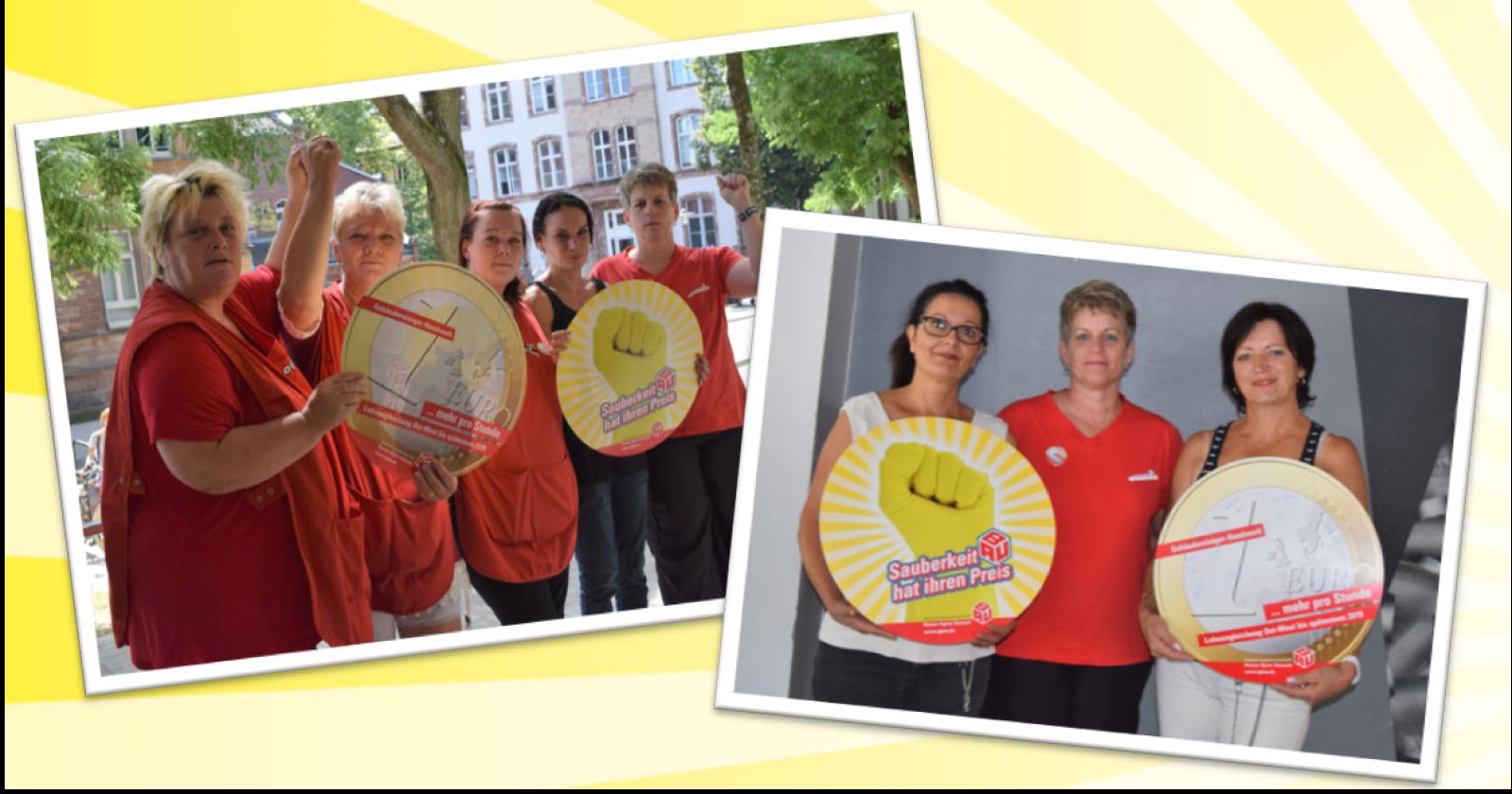 Ute Langenbahn, Mitglied der IG BAU Tarifkommission, informierte Kolleginnen von Proper in Saarbrücken