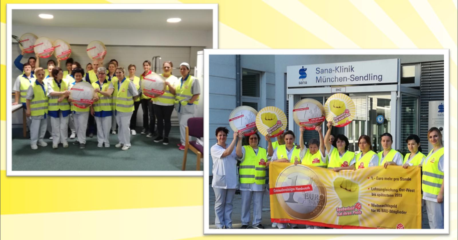 Beschäftigte von KDS in Ulm & Sana DGS München treten für gerechte Löhne ein und unterstützen die Tarifkommission der IG BAU