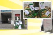 Aktion vor Gebäudereiniger-Innung in Berlin. Kolleginnen und Kollegen fragen sich: Wessen Wort gilt?
