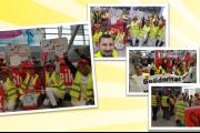 Erster Streiktag am Flughafen Düsseldorf - Klüh Beschäftigte kämpfen für einen Sozialtarifvertrag