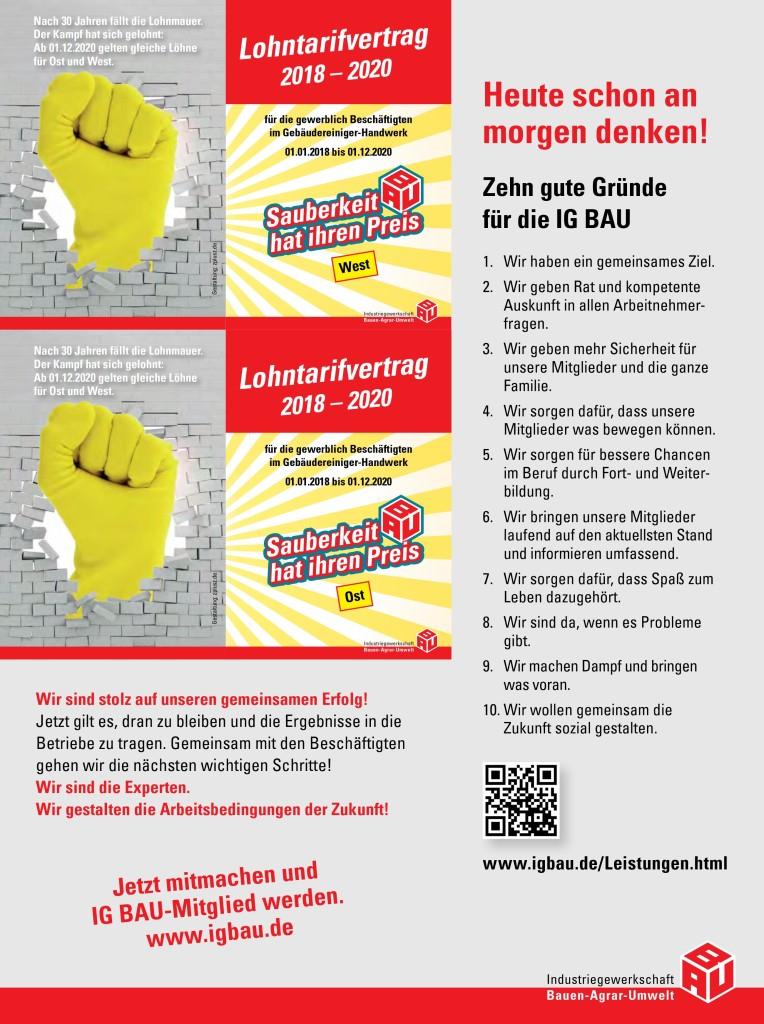 Häufig Tariflohntabelle 2018-2020 für die Gebäudereinigung – Alle RO97