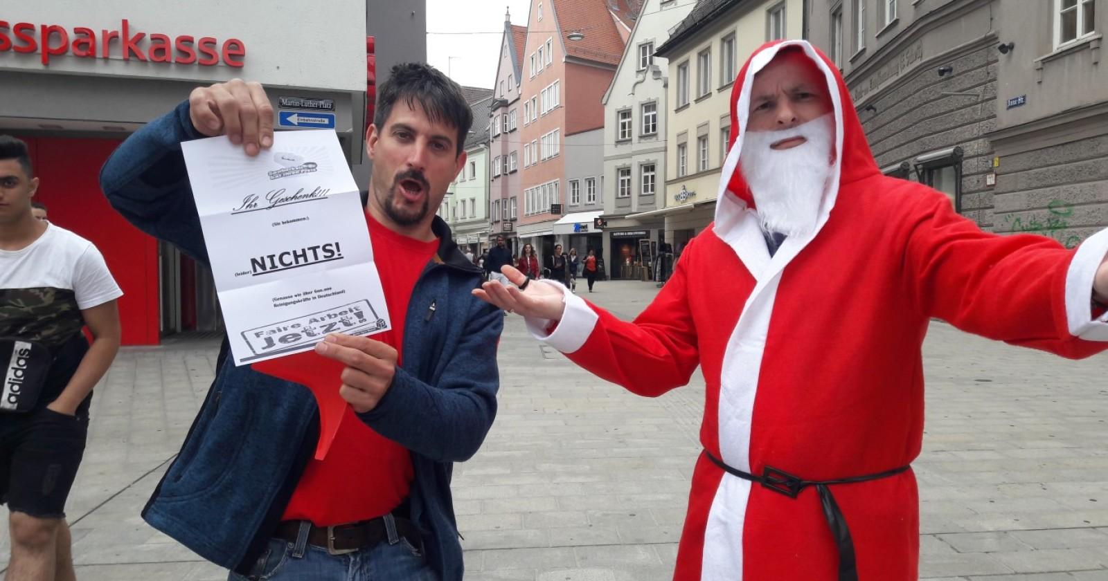 """IG BAU Augsburg sorgt am Tag der Gebäudereinigung für eine """"schöne Bescherung"""""""