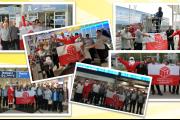 Weihnachsmän besuchte KollegInnen von Sasse Aviation am Münchner Flughafen
