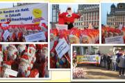 Großdemos im ganzen Land. Von Augsburg bis Flensburg – Weihnachtsmänner demonstrieren für IG BAU Forderung.