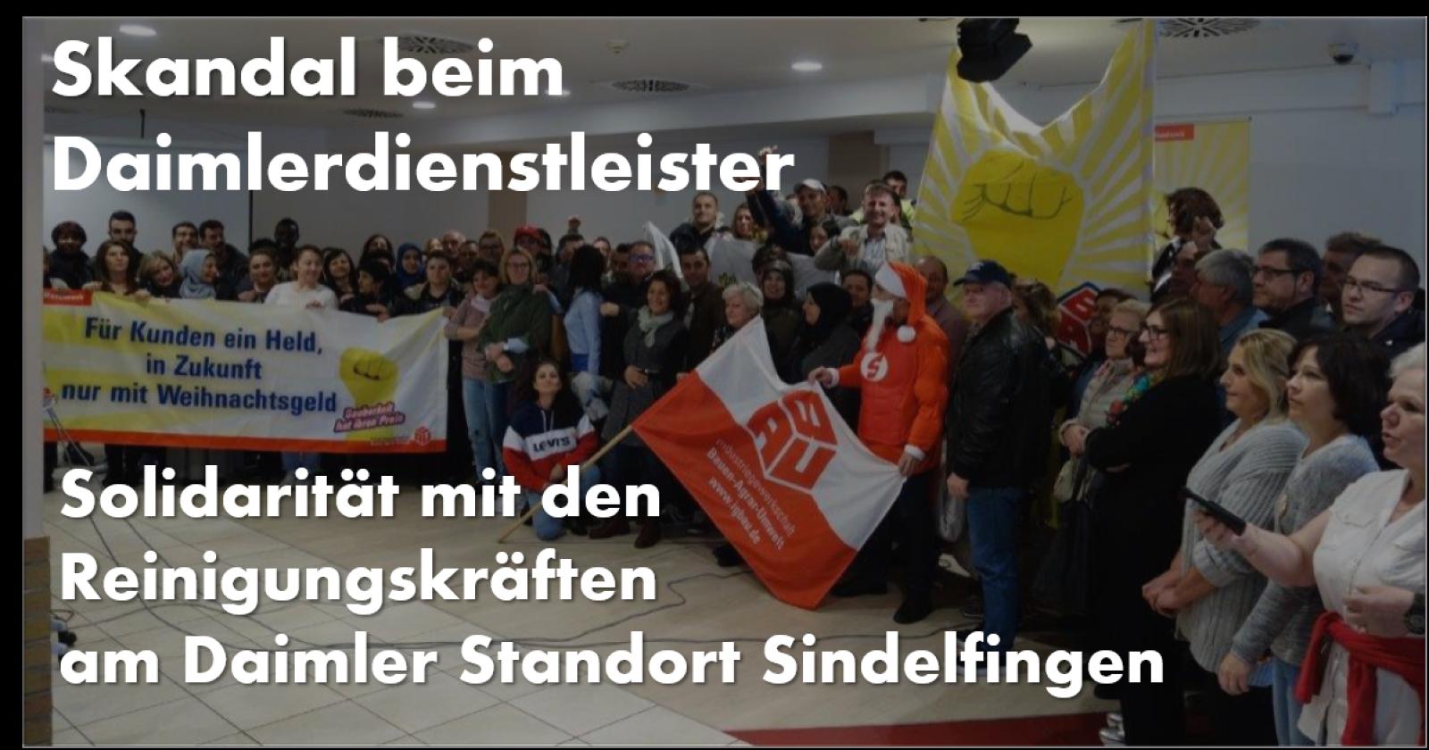 Skandal beim Daimlerdienstleister - Solidarität mit den Reinigungskräften am Daimler Standort Sindelfingen