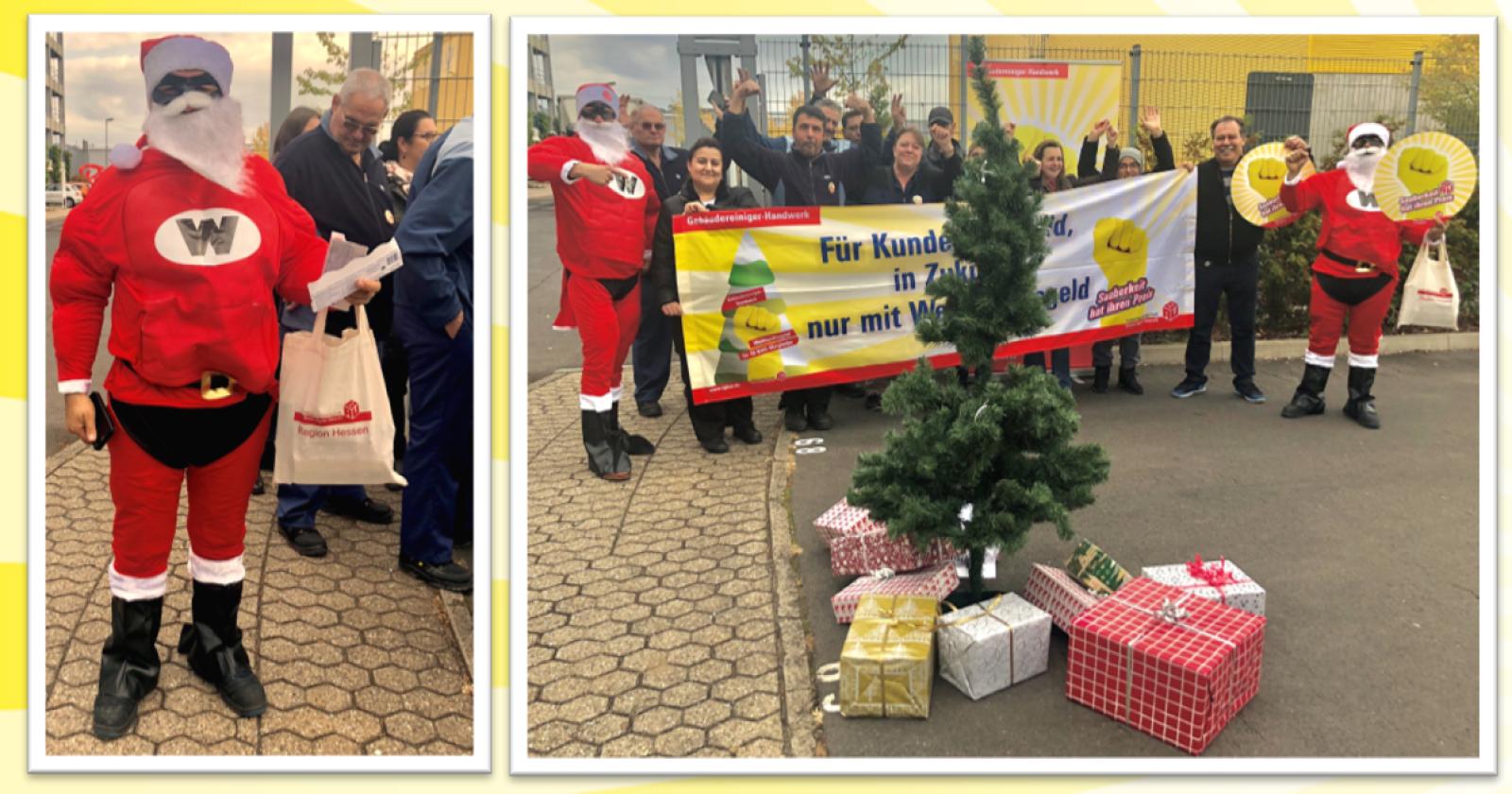 Weihnachtsmän bei ISS im Industriepark Hanau