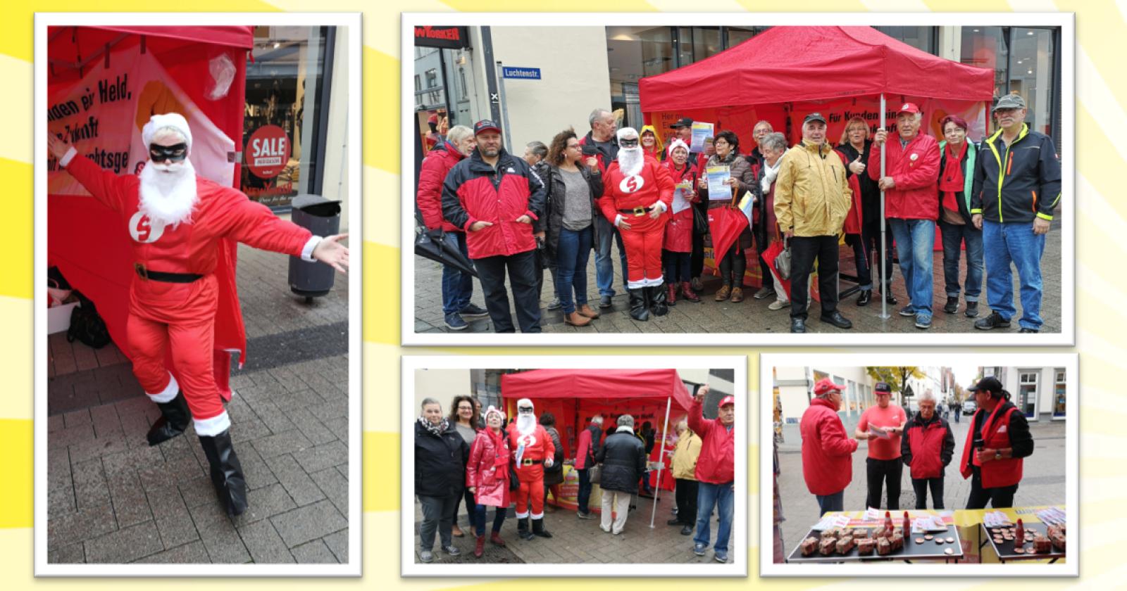 Weihnachtsmän in Lippstadt – Gewerkschafter bekommen viel Zuspruch zur Forderung nach Weihnachtsgeld