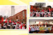 KollegInnen von Tip Top und ISS am VW-Werk in Baunatal streiken für das Weihnachtsgeld