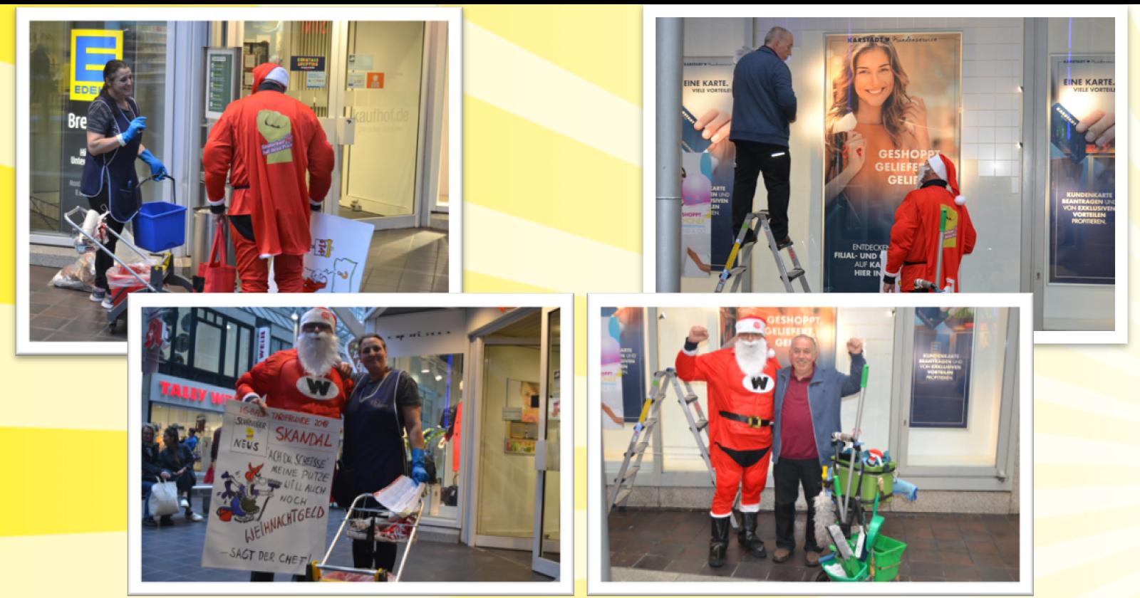 Überraschungsbesuch in Bremen – Weihnachtsmän traf Beschäftigte von Peterhoff und Zabel in der Lloyd-Passage
