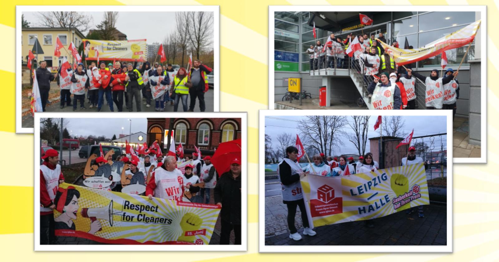 GebäudereinigerInnen in Halle und Dresden streiken für ein Weihnachtsgeld