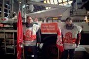 Warnstreik am Flughafen Tegel in Berlin – Steiger der Firma GRG bleibt stehen