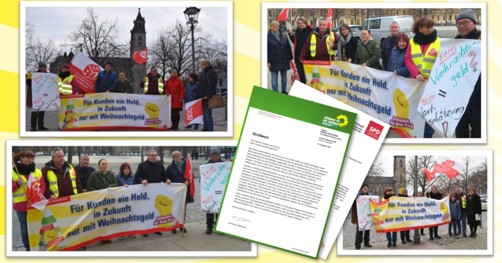 Warnaktion der Glas- und Gebäudereiniger vor dem Landtag Sachsen-Anhalt - öffentliche Auftraggeber haben große Verantwortung