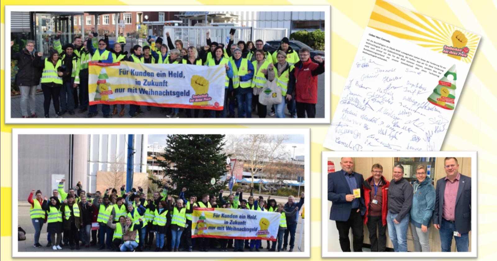 Betriebsrat von BASF steht hinter der Forderung für ein Weihnachtsgeld für Beschäftigte der Gebäudereinigung.