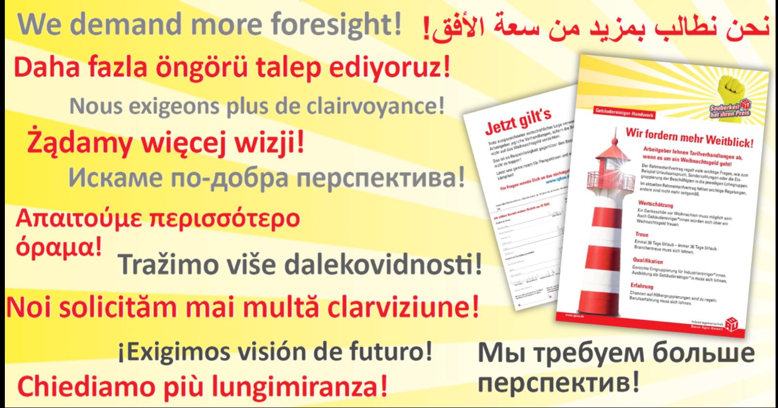 """Flugblatt """"Wir fordern mehr Weitblick!"""" jetzt auch in 12 weiteren Sprachen"""