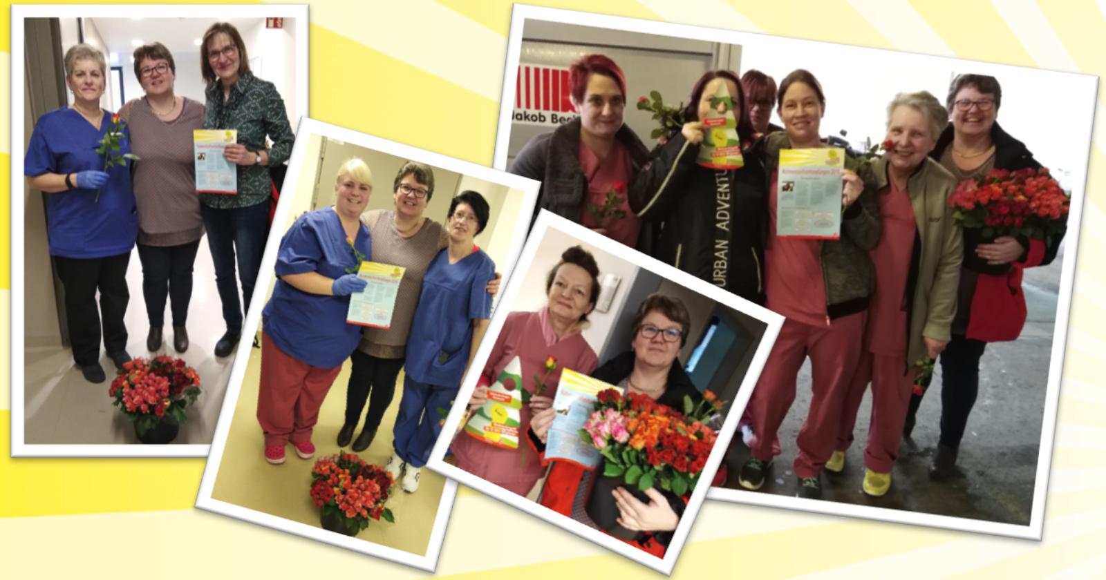 Internationaler Frauentag: IG BAU verteilte Rosen an Kolleginnen der Gebäudereinigung der Universitätsklinik Homburg