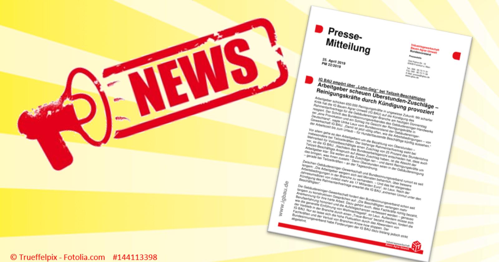 Pressemitteilung: Arbeitgeber scheuen Überstunden-Zuschläge – Reinigungskräfte durch Kündigung provoziert