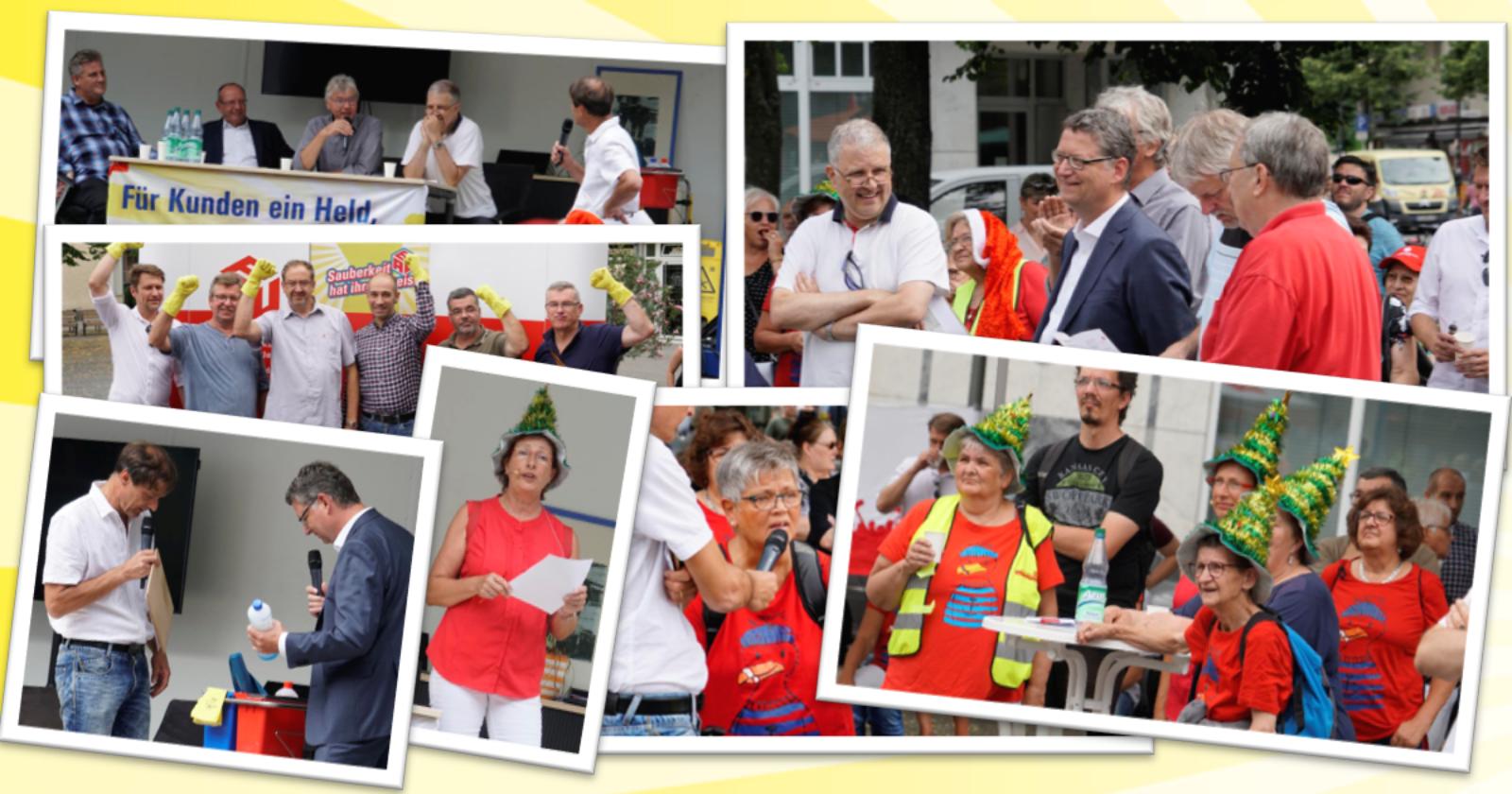 """""""Ausgeputzt!"""" in Gießen: IG BAU Hessen und Reinigungskräfte machen Politiker auf Missstände aufmerksam"""