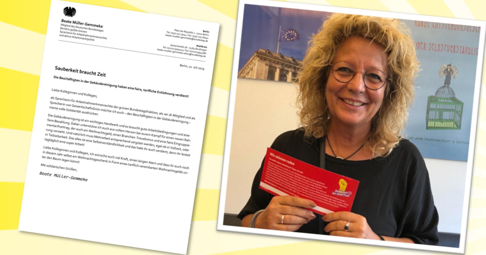 """Beate Müller-Gemmeke MdB (Bündnis 90/Die Grünen): """"Sauberkeit braucht Zeit. Die Beschäftigten in der Gebäudereinigung haben eine faire, tarifliche Entlohnung verdient!"""""""