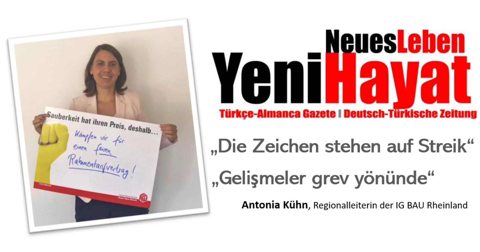 """""""Die Zeichen stehen auf Streik/Gelişmeler grev yönünde"""" Interview mit Antonia Kühn auf Deutsch und Türkisch"""