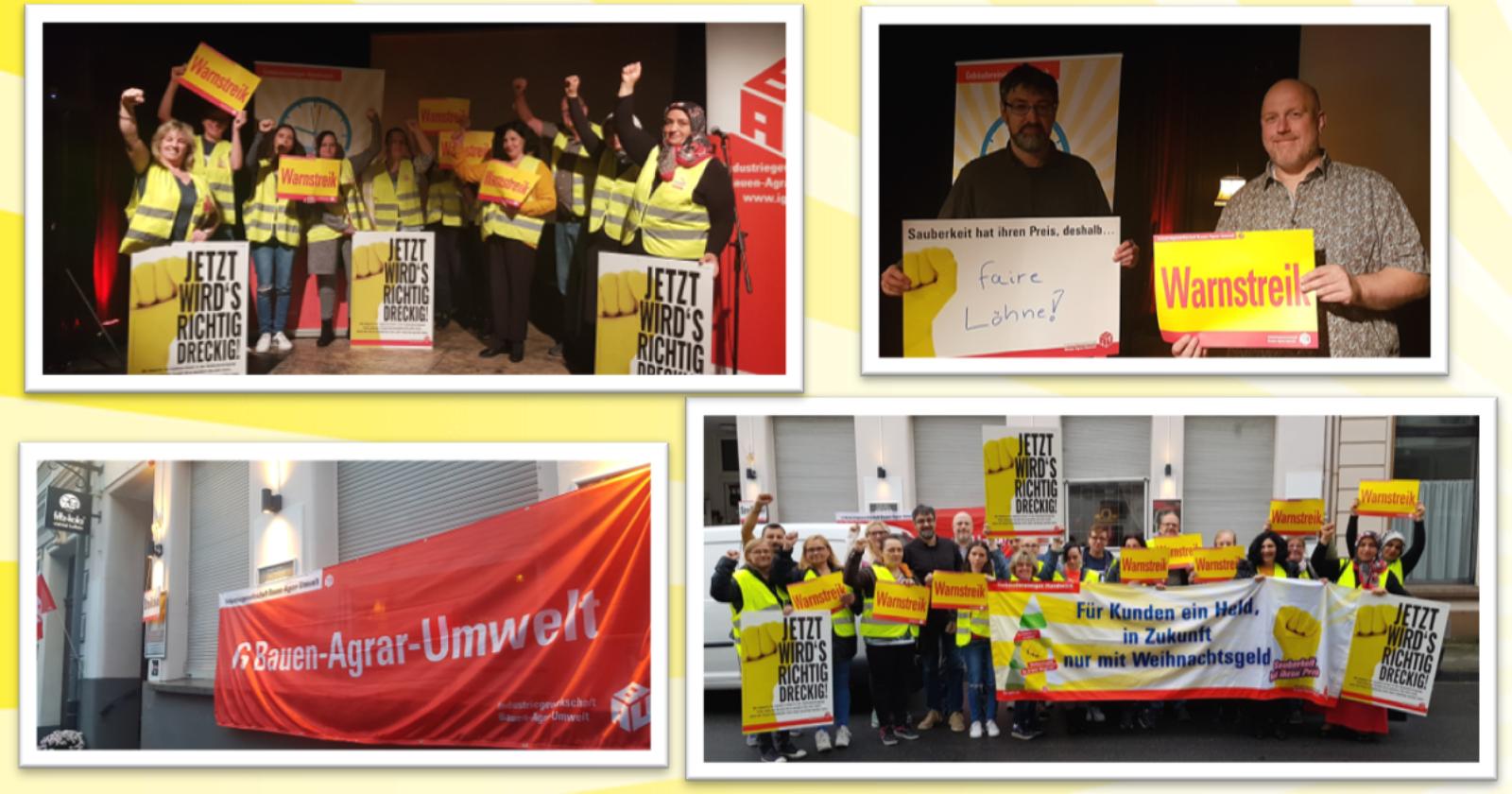 Reinigungskräfte von Geba in Viersen und Piepenbrock in Krefeld im Warnstreik mit Unterstützung der SPD