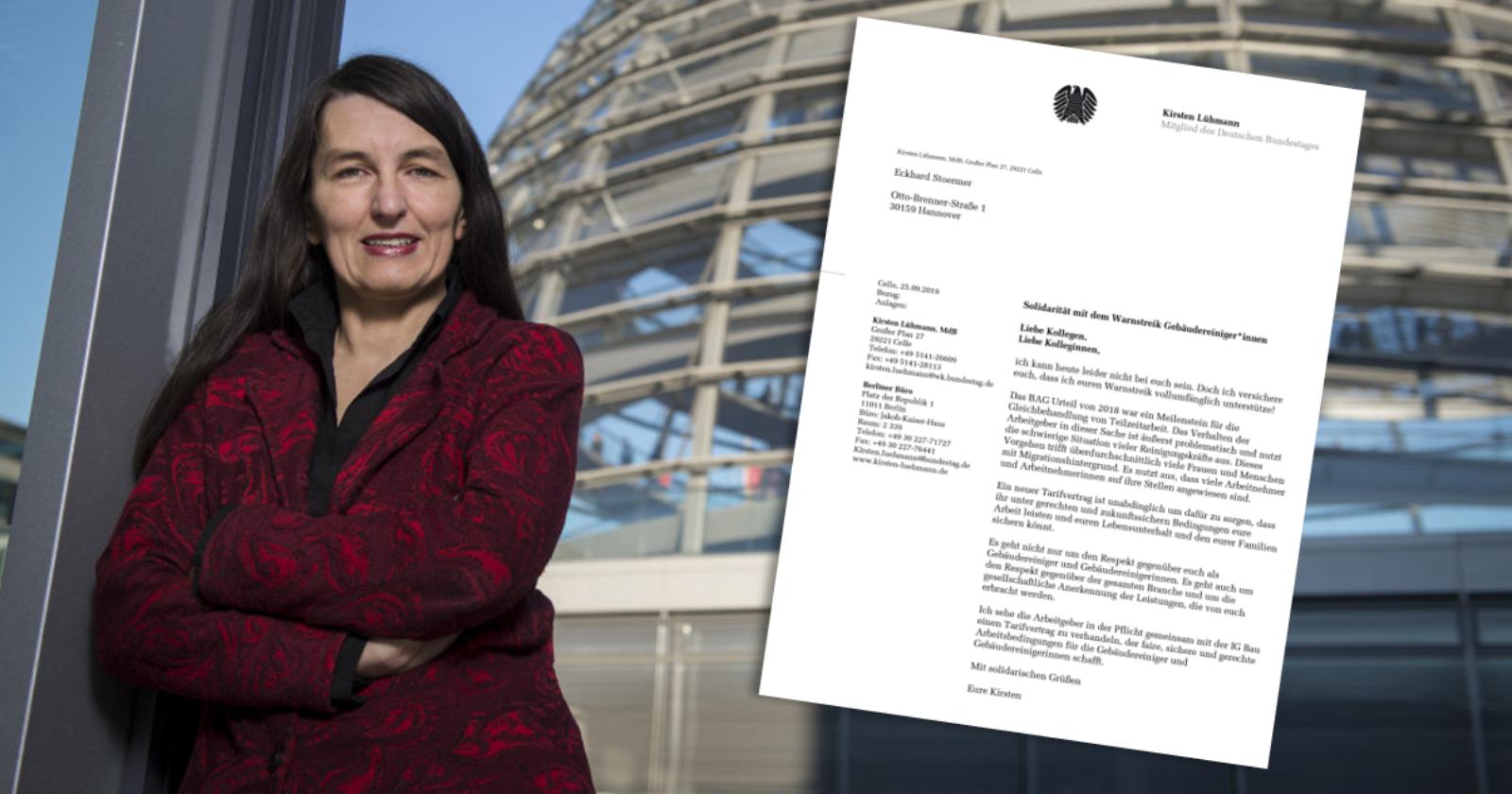 Kirsten Lühmann, Bundestagsabgeordnete der SPD unterstützt die Warnstreiks in der Gebäudereinigung