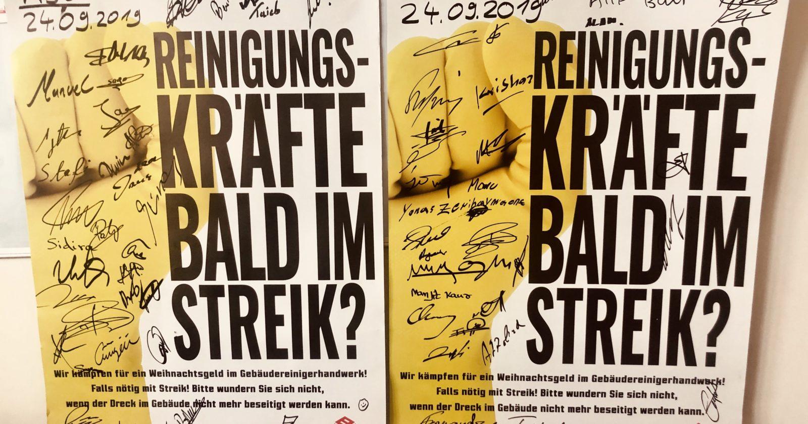 Beschäftigte der ASG Flugzeugreinigung am Frankfurter Flughafen bereit zum Streik
