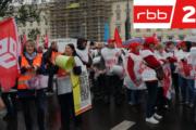 RBB berichtet über Warnstreikdemo der Gebäudereiniger in Berlin