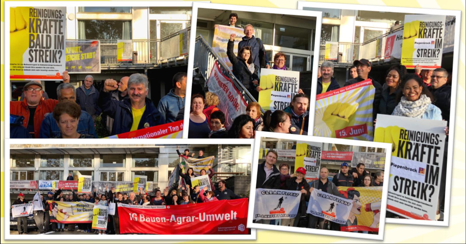 Kämpferische Stimmung vor Streiklokal in Frankfurt - Beschäftigte von Piepenbrock und WISAG im Warnstreik