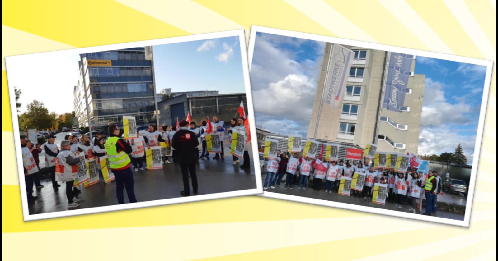 Beschäftigte der Gebäudereinigung von Leadec streikten bei Continental und Stadtwerken in Ingolstadt