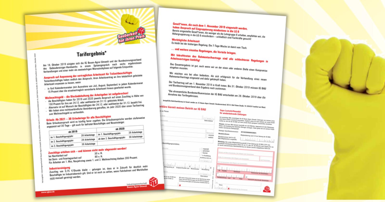 Flugblatt zum Tarifergebnis - Eckpunkte zur Neufassung des Rahmentarifvertrags im Gebäudereiniger-Handwerk