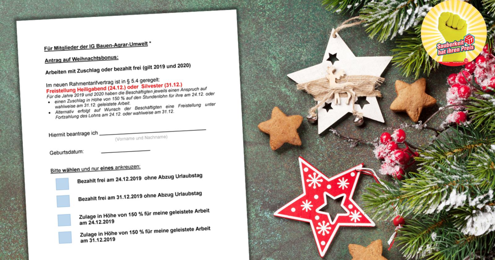 Antragsformular für den Weihnachtsbonus