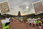 Leipzig: Aufsehenerregende Aktion der Reinigungskräfte am Völkerschlachtdenkmal am Tag der Tarifverhandlung