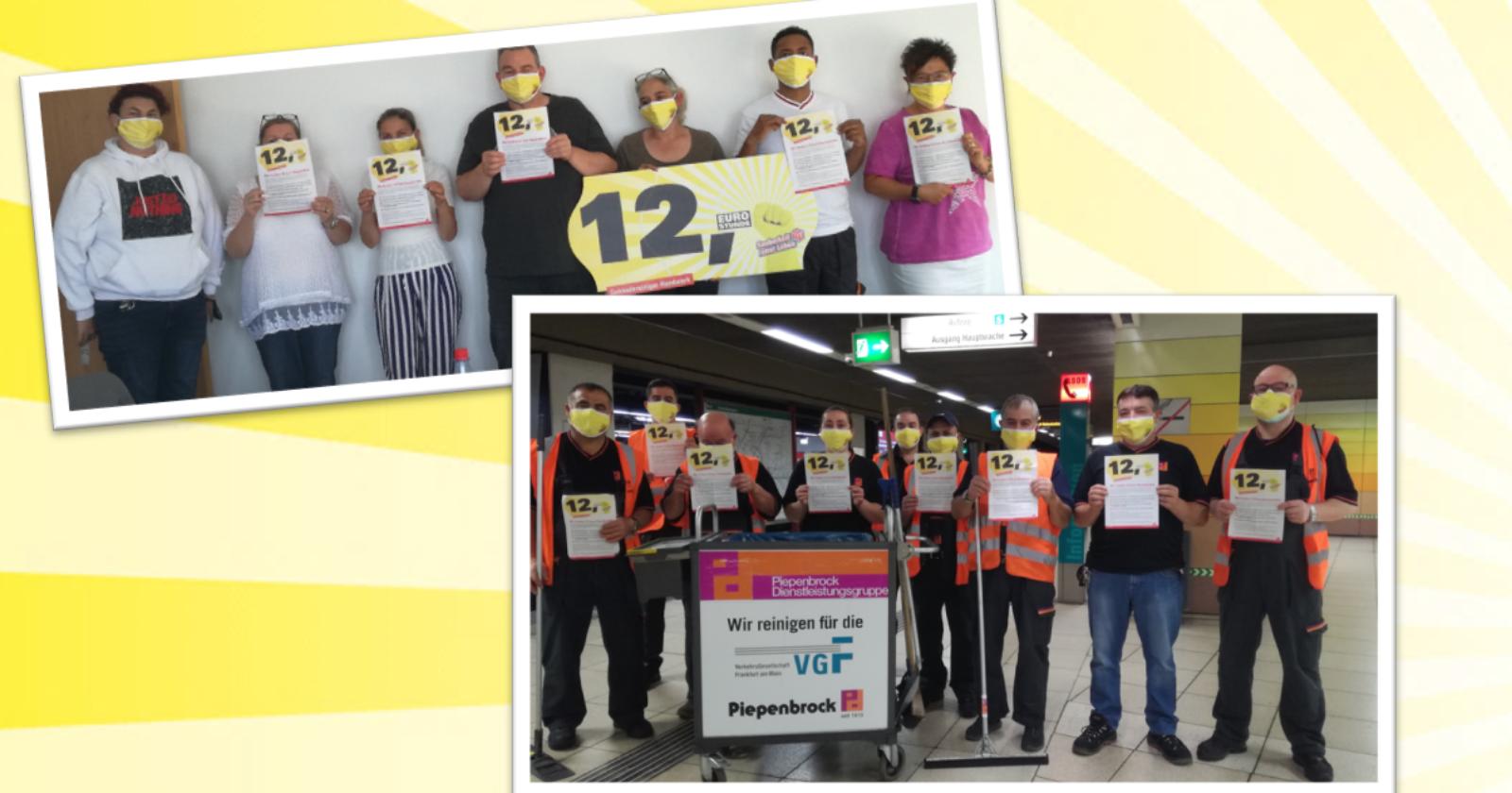 Piepenbrock - Betriebsrat und Beschäftigte der Gebäudereinigung in Frankfurt fordern 12€ Stundenlohn