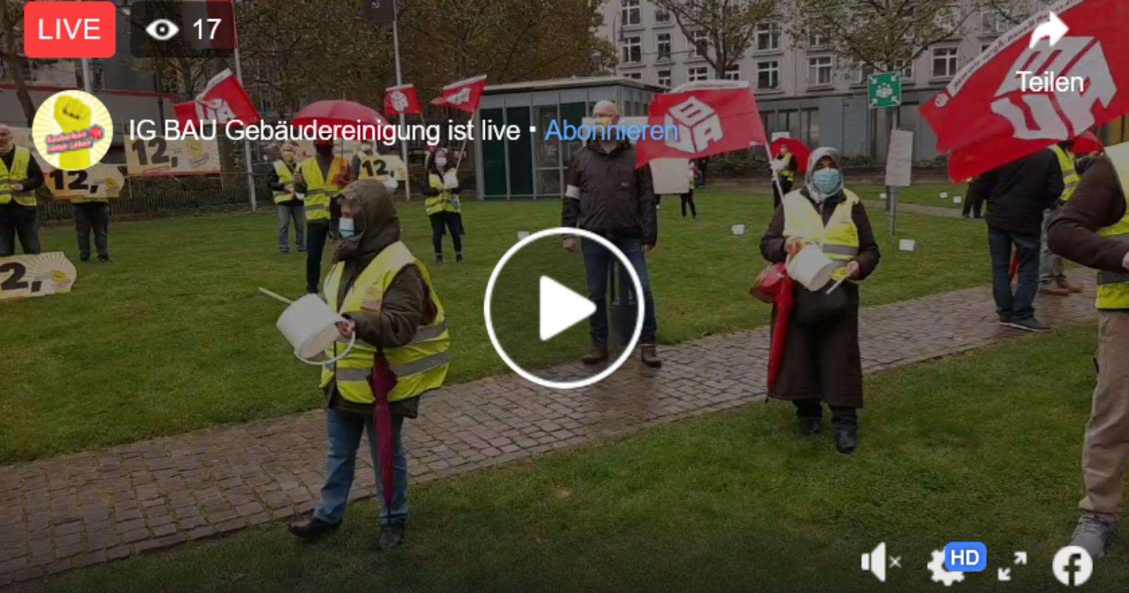 +++ Livestream aus Köln +++ Kundgebung der Gebäudereiniger*innen vor dem Verhandlungslokal +++