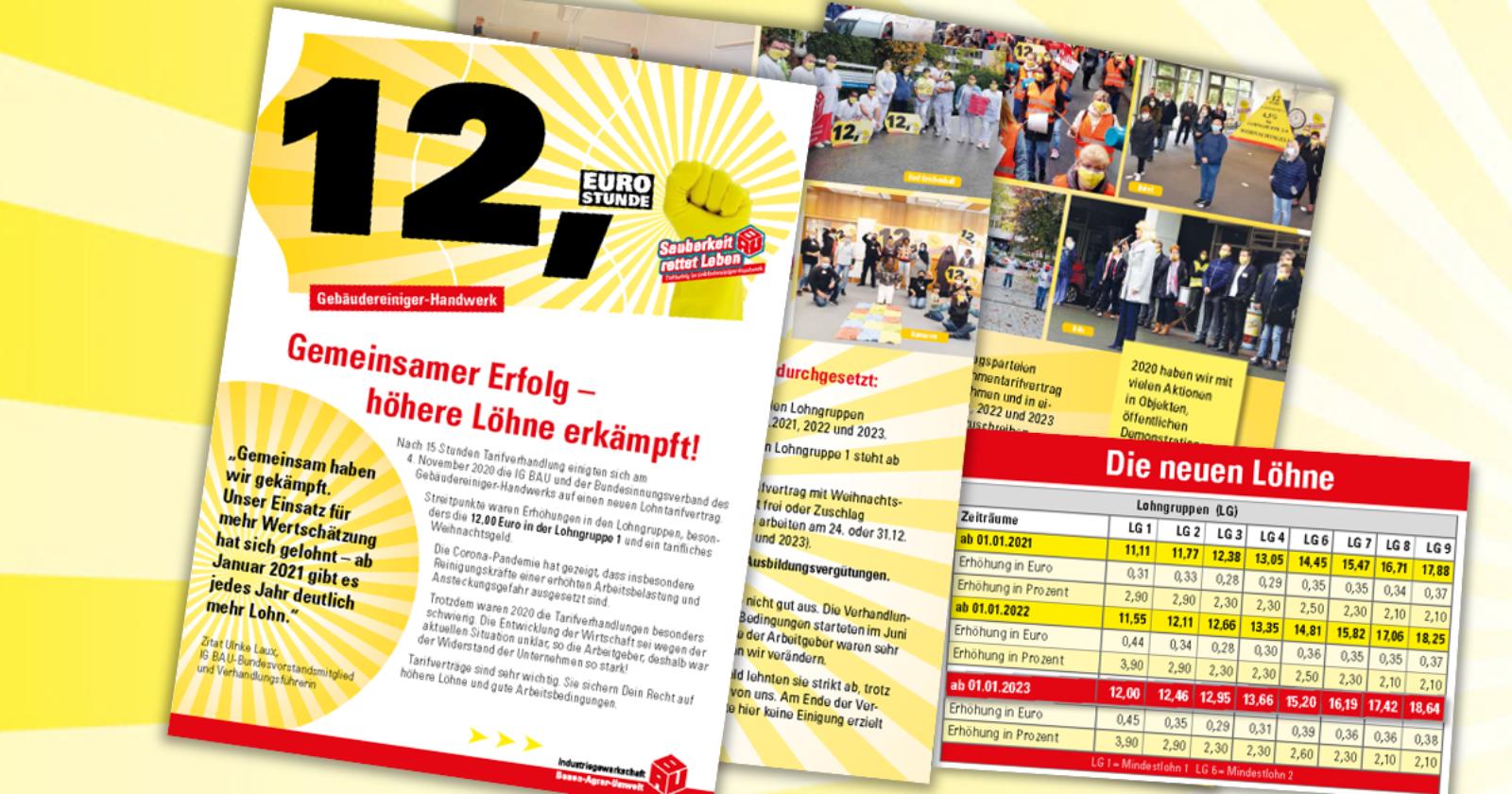 Flugblatt mit neuen Lohntabellen für Beschäftigte im Gebäudereiniger-Handwerk