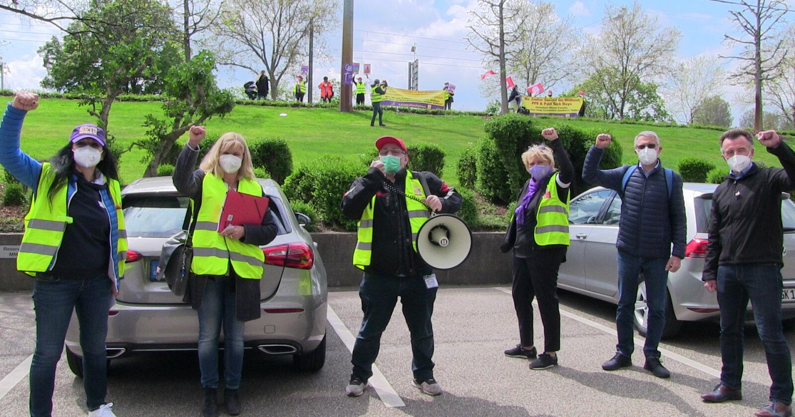 Video: IG BAU - SEIU Solidaritätsaktion am Sitz der Firma MANN in Karlsruhe