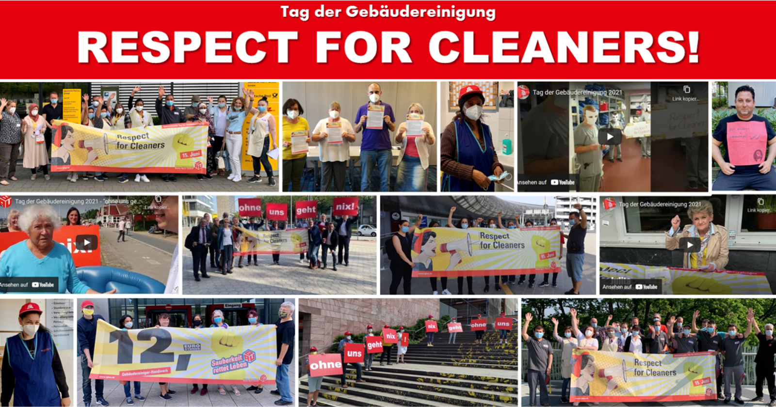 """Bundesweite Aktionen zum Tag der Gebäudereingung - Kolleginnen und Kollegen fordern """"Respect for Cleaners!"""""""