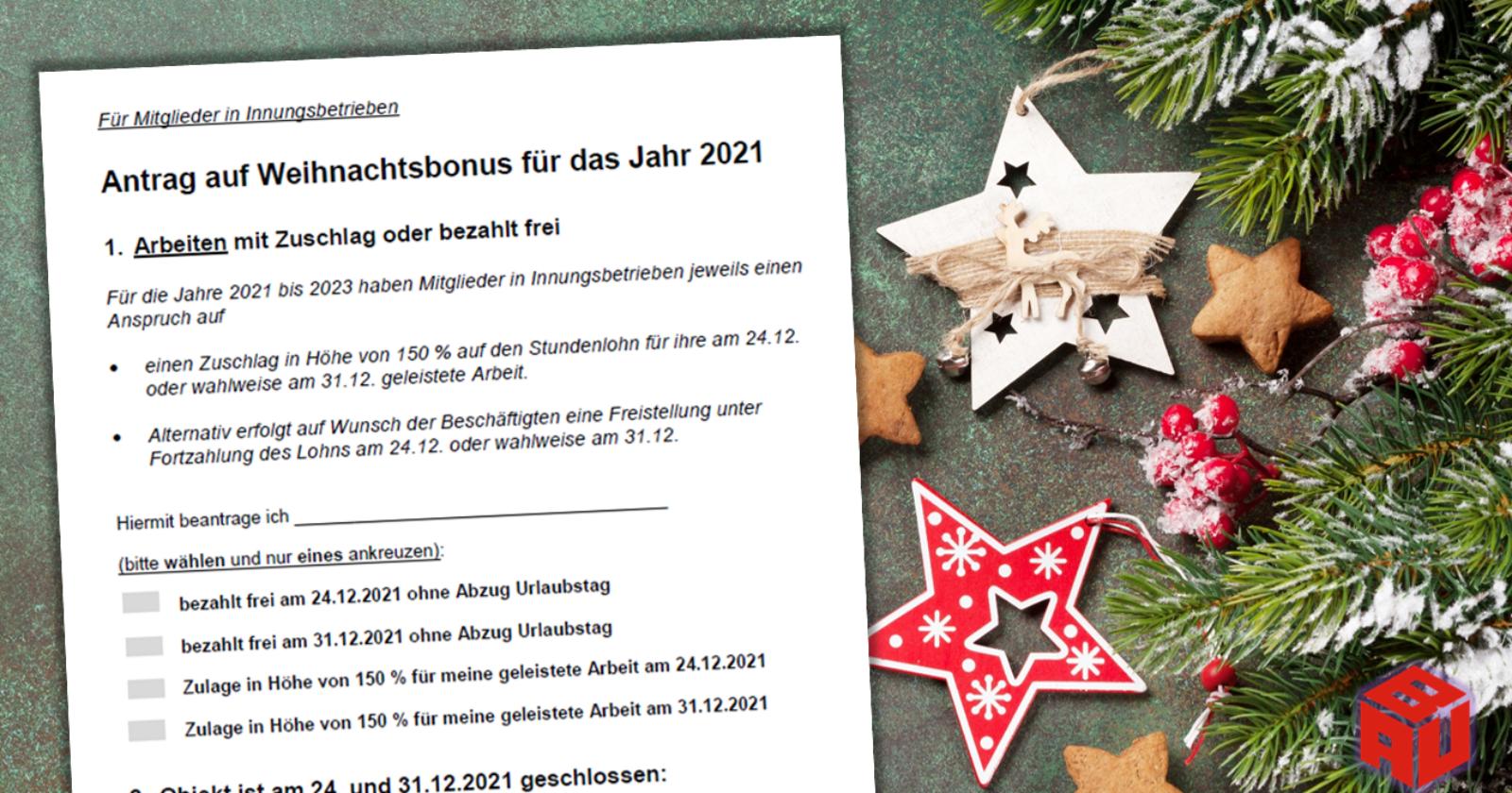 Antragsformular für den Weihnachtsbonus 2021